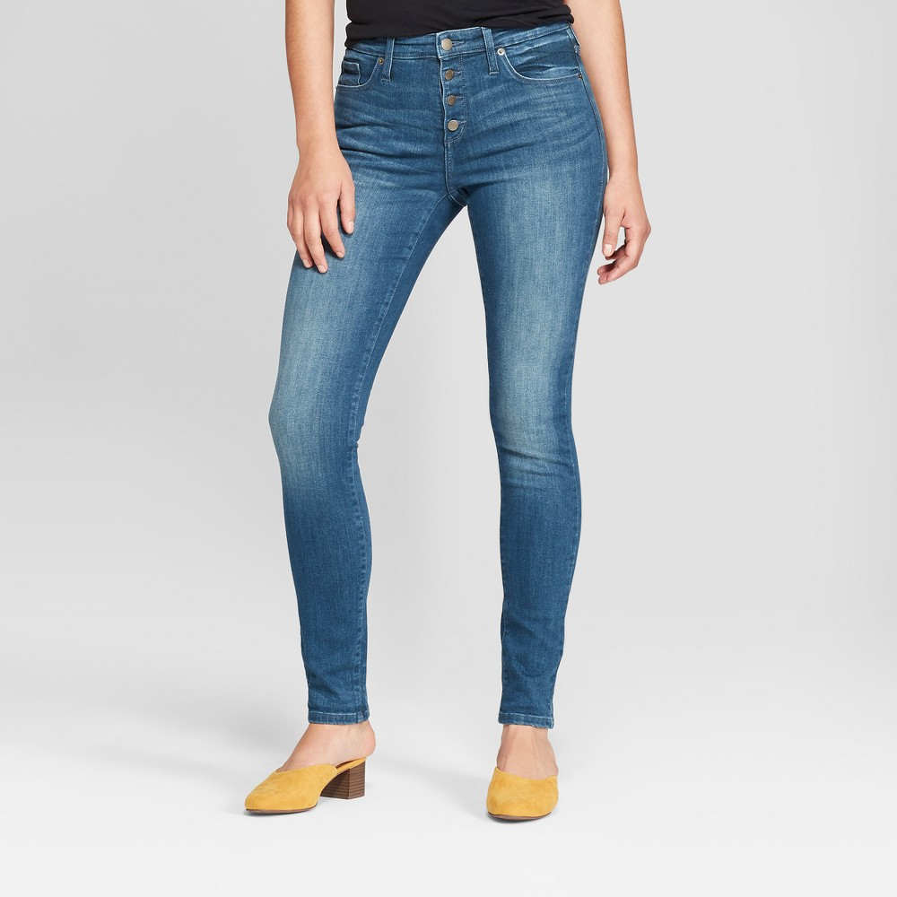 Women's High-Rise Button Fly Skinny Jeans - Universal Thread Dark Wash 18 Long, Blue