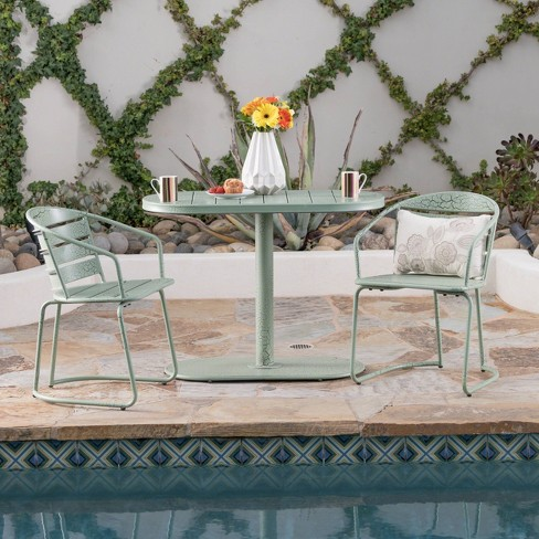 Sensational Santa Monica 3Pc Iron Patio Bistro Set Crackle Green Christopher Knight Home Interior Design Ideas Tzicisoteloinfo