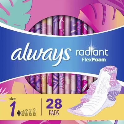 Always Radiant Teen Pads Regular Absorbency & Unscented - 28ct : Target