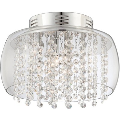 "Possini Euro Design Modern Ceiling Light Flush Mount Fixture Chrome 11"" Wide Clear Glass Drum Crystal for Bedroom Kitchen Hallway"