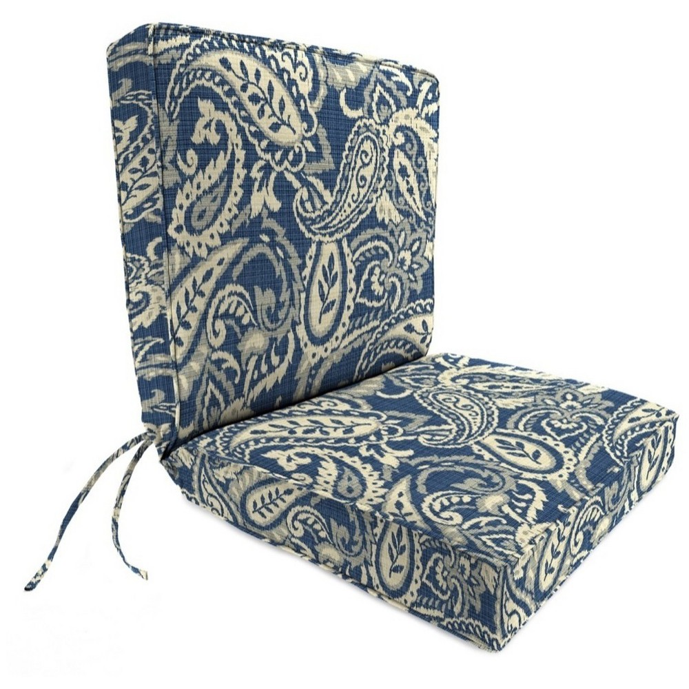 Outdoor Boxed Edge Dining Chair Cushion In Audeal Nautical - Jordan Manufacturing, Atlantic