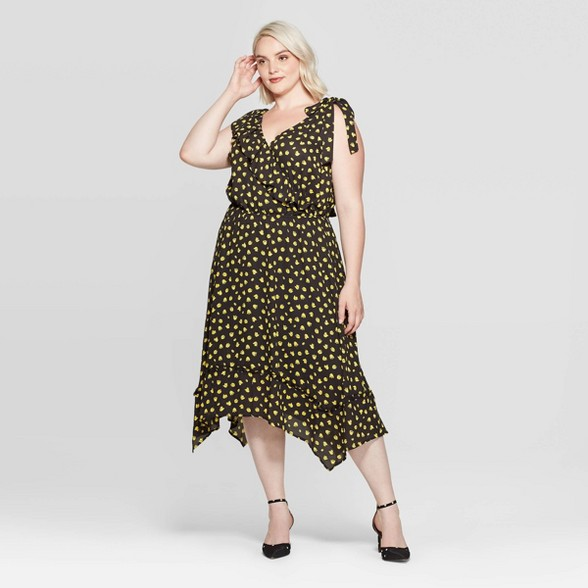 Women\'s Plus Size Floral Print Casual Fit Sleeveless V-Neck Midi Dress -  Who What Wear™ Black Tie 4X