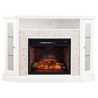 Reza Corner Convertible Infrared electric fireplace Media Stand-White - Aiden Lane