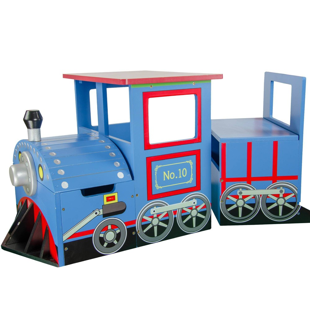 Image of Little Captain Train Writing Desk and Storage Bench Set - Teamson Kids