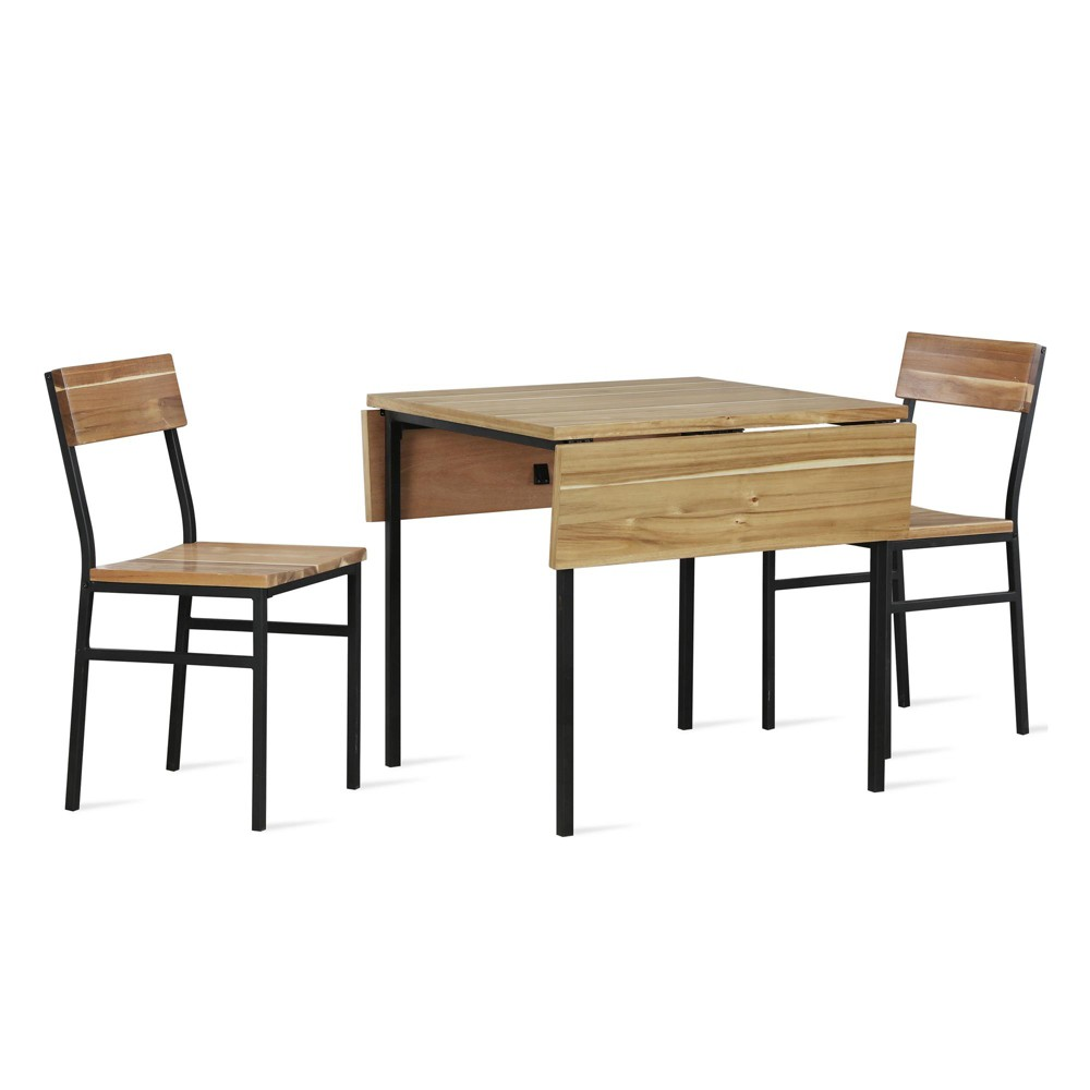 3pc Zane Drop Leaf Wood and Metal Table and Chair Set Natural - Dorel Living