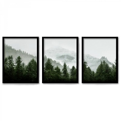 Americanflat Triptych Wall Art Green Mountain Mural by Tanya Shumkina - Set of 3 Framed Prints