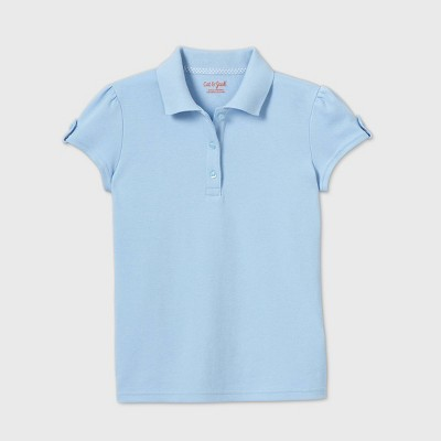 Girls' Short Sleeve Interlock Uniform Polo Shirt - Cat & Jack™ Light Blue