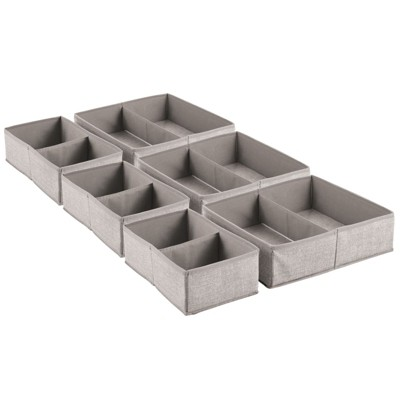 mDesign Fabric Dresser Drawer and Closet Storage Organizer, Set of 6 - Linen/Tan