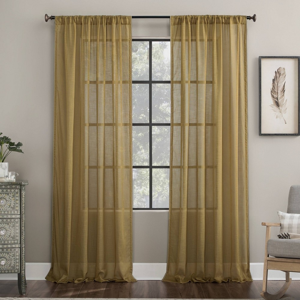 "Image of ""50""""x63"""" Embroidered Border Cotton Sheer Curtain Brass - Archaeo, Size: 50""""x63"""""""