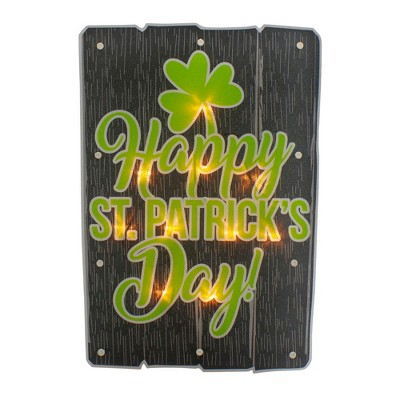 """Northlight 17"""" Lighted Happy St.Patrick's Day Window Silhouette Decoration"""