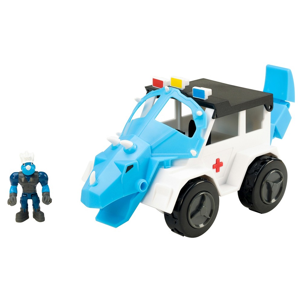 Educational Insights Dino Construction Company Rescue Crew Turbo the Triceratops Police Suv