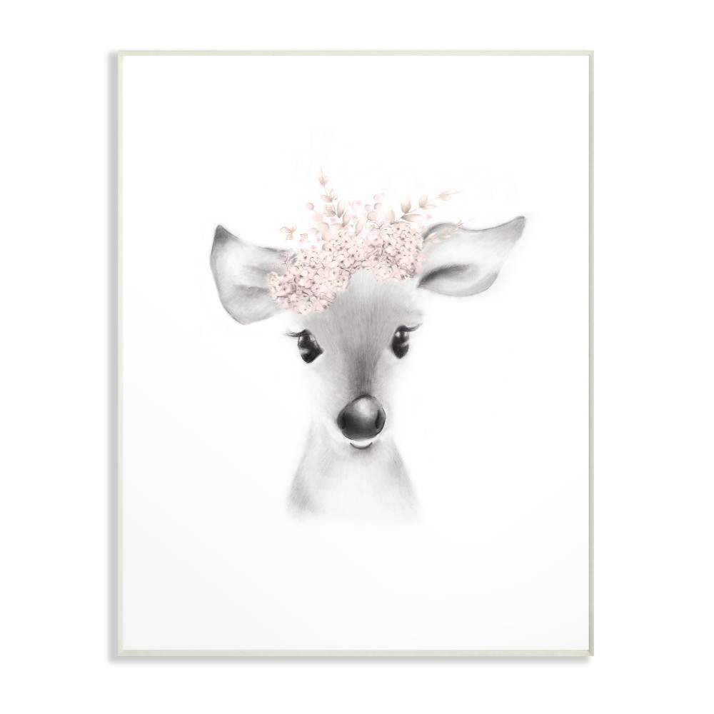 "Image of ""10""""x0.5""""x15"""" Sketched Fluffy Deer Flowers Wall Plaque Art - Stupell Industries"""