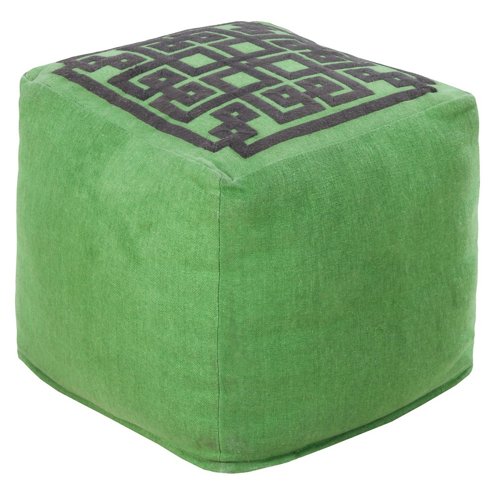 Forest (Green) Geometric Top Cube Pouf 18x18
