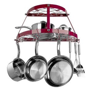 Range Kleen Double Shelf Wall Hanging Pot Rack - Red