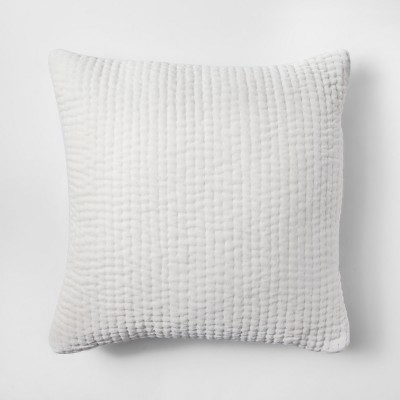 Cream Velvet Quilted Throw Pillow - Threshold™