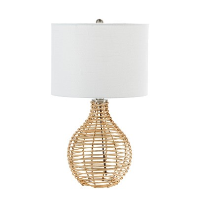 "20"" Bryce Rattan Silverwood Table Lamp (Includes LED Light Bulb) Light Brown - Decor Therapy"