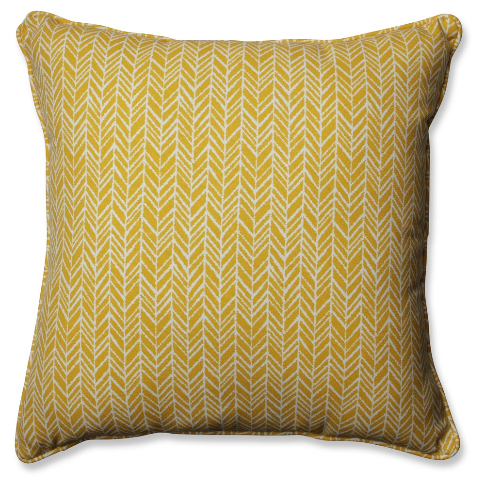 Outdoor/Indoor Herringbone Yellow Floor Pillow - Pillow Perfect