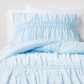 3pc Full/Queen Ruched Jersey Comforter Set Light Blue - Pillowfort™