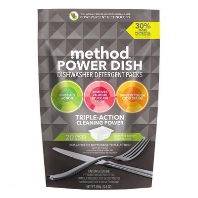 Method® Dishwasher Detergent Power Packets Lemon Mint - 20ct