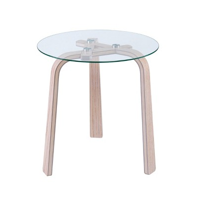Anwick Round Glass-Top End Table - Natural - Holly & Martin