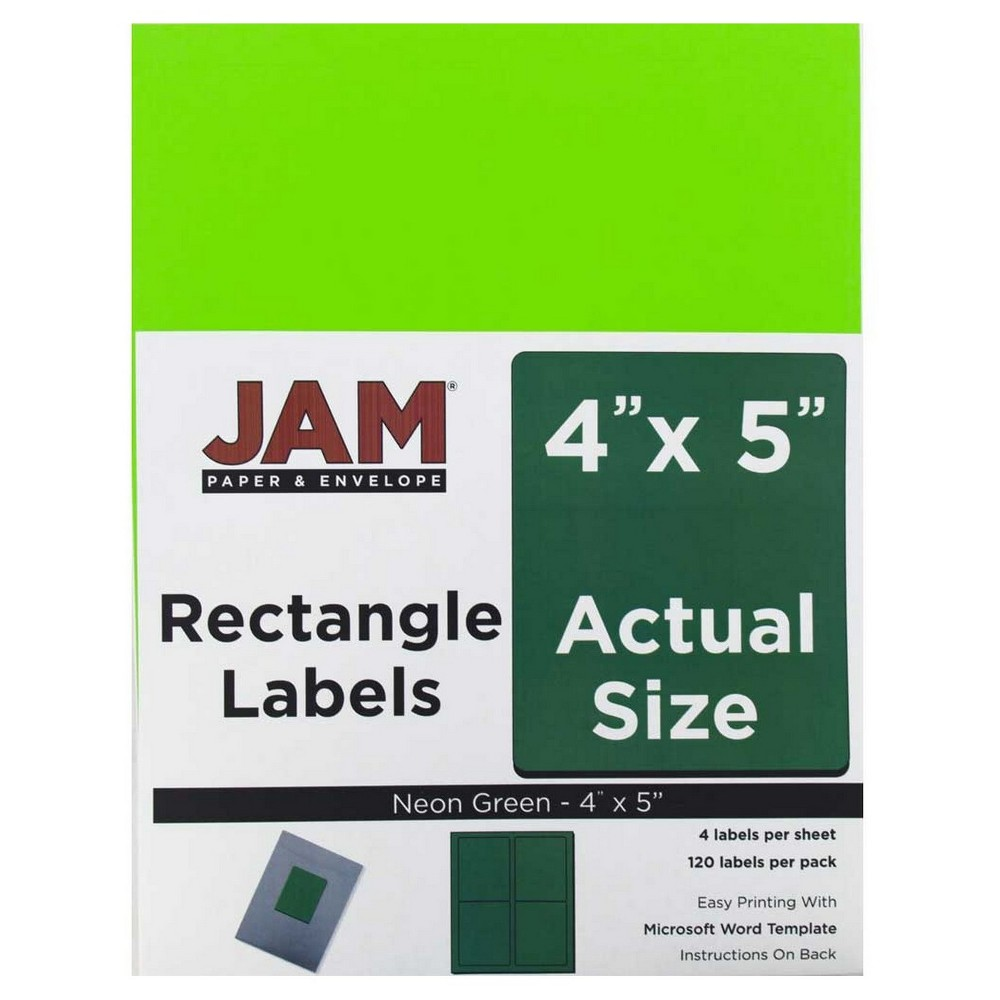 """Image of """"JAM Paper Shipping Labels 4"""""""" X 5"""""""" 120ct - Neon Green"""""""