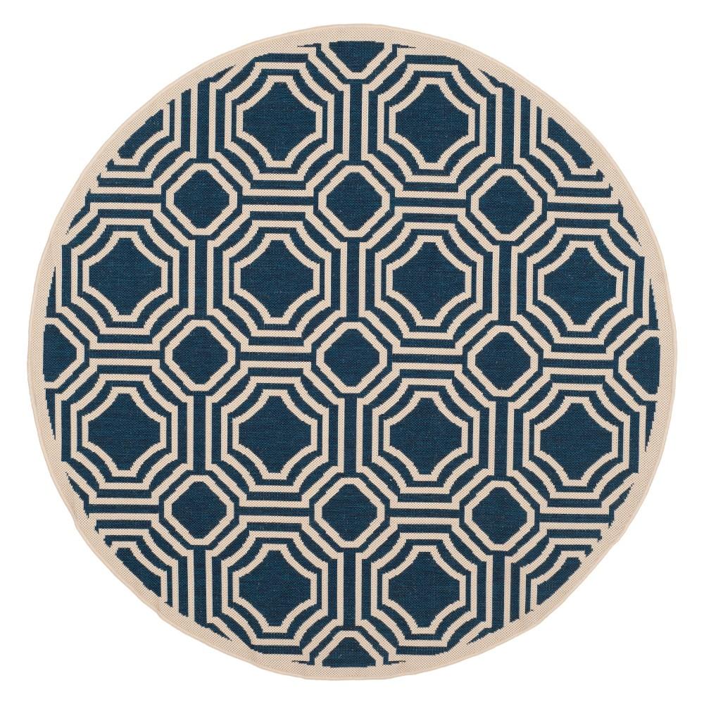 Hamina Round 5'3 Outdoor Patio Rug - Navy / Beige - Safavieh, Blue