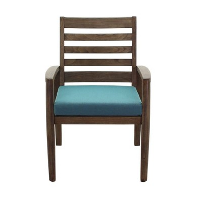 Avalon FSC Teak Arm 2pk Dinning Chairs - Gray - Courtyard Casual