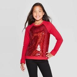 Girls' Long Sleeve Flip Sequin Pullover - Cat & Jack™ Dark Red