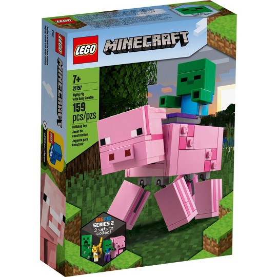 LEGO Minecraft Pig BigFig and Baby Zombie 21157 Cool Buildable Minecraft Toy image number null