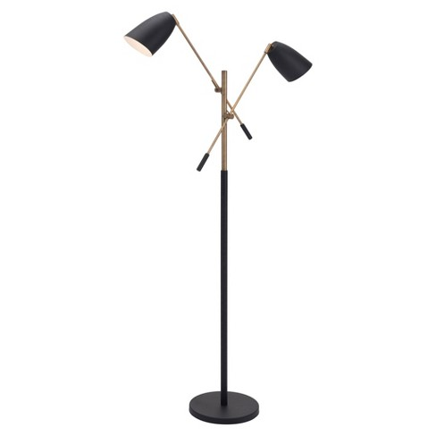 "Retro Modern Floor Lamp Matte Black/Brass 71"" (Includes Energy Efficient Light Bulb) - ZM Home - image 1 of 4"