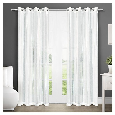 Set of 2 Apollo Sheer Window Curtain Panels White - Exclusive Home