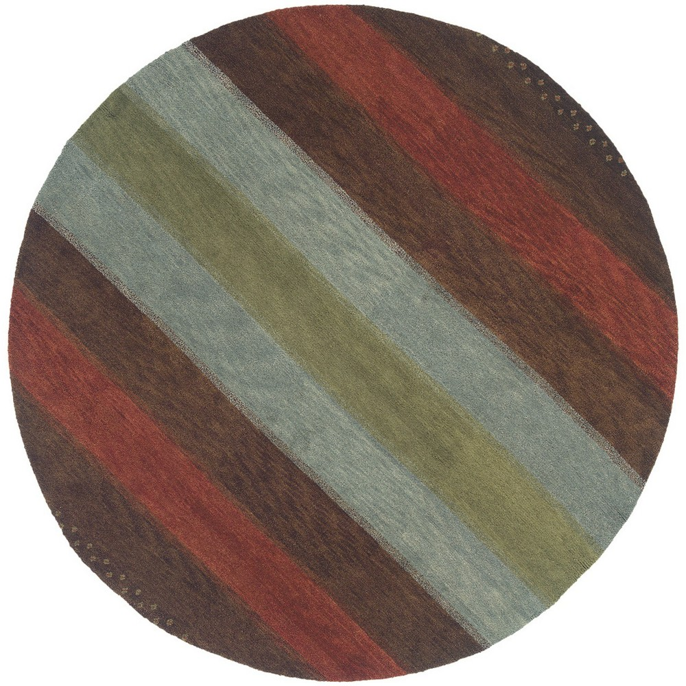 8'X8' Stripe Knotted Round Area Rug - Momeni, Multi-Colored