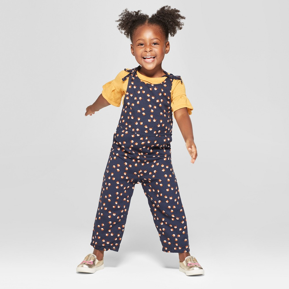 Vintage Style Children's Clothing: Girls, Boys, Baby, Toddler Toddler Girls 2pc Long Sleeve Knit Bell and Fox Pants Set - Genuine Kids from OshKosh Zesty GoldNavy 3T Yellow $18.98 AT vintagedancer.com