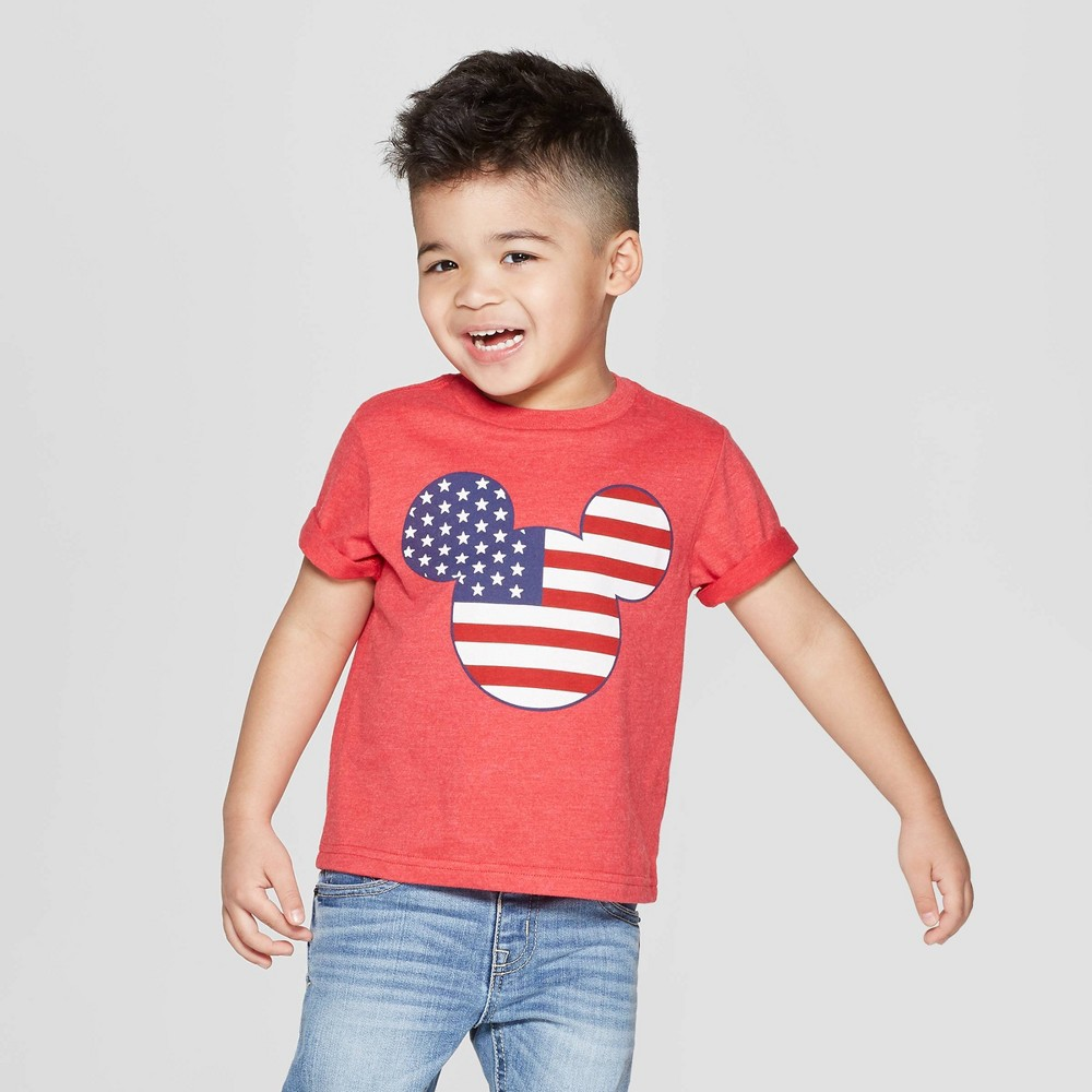 Toddler Boys' Disney Americana Mickey Mouse Ears Short Sleeve T-Shirt- Red 2T