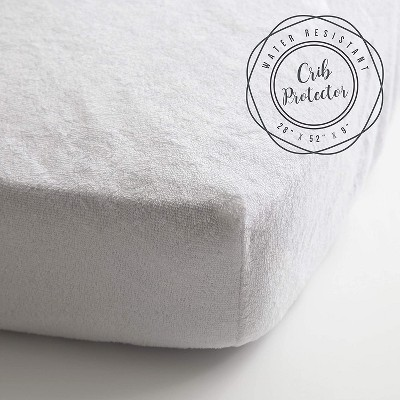 JumpOff Jo Crib Mattress Protector - Terry Cotton and Waterproof Mattress Cover for Standard Sized Cribs - 28 x 52 Inches - White