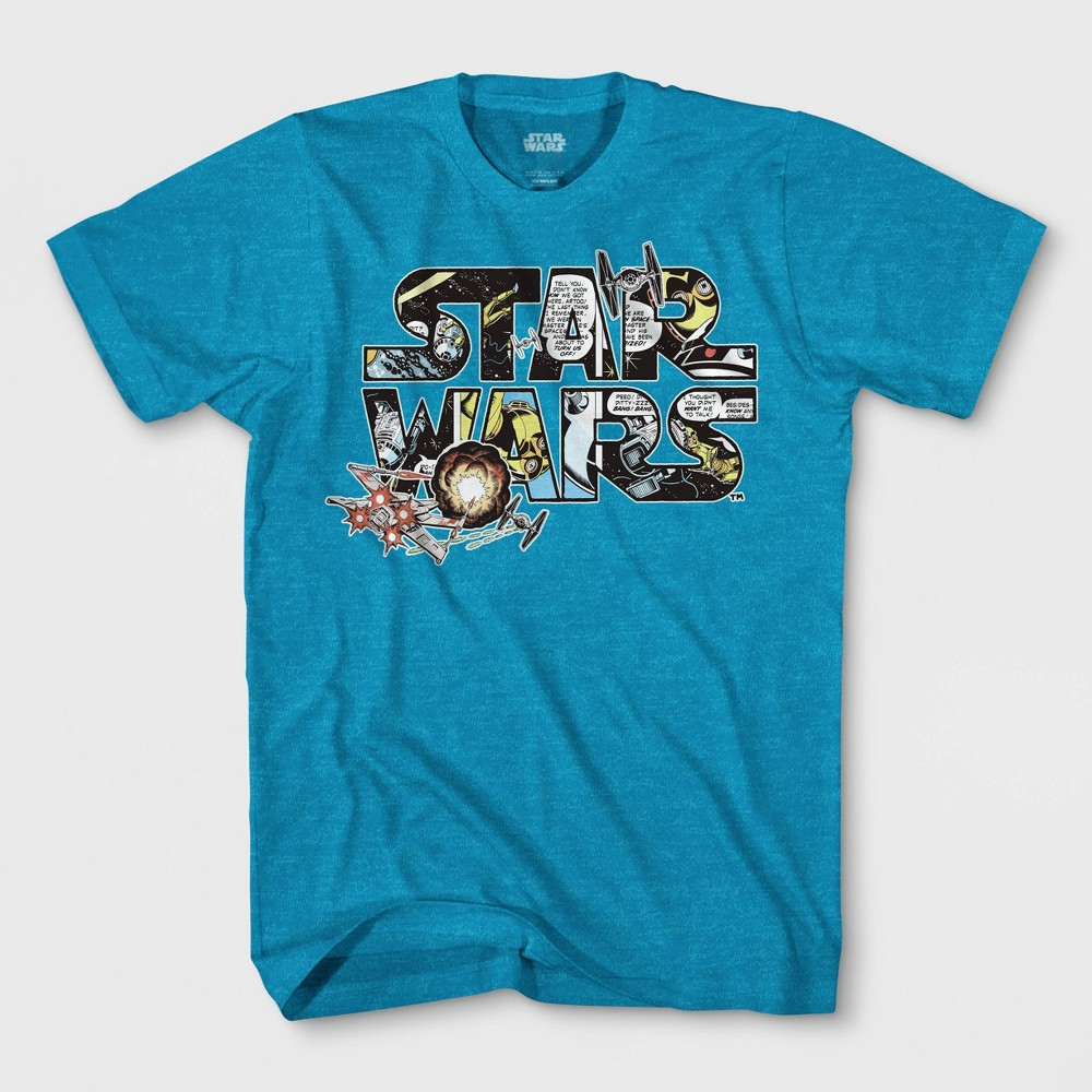 Boys' Star Wars Logo Comic Short Sleeve T-Shirt - Turquoise Heather XS, Blue