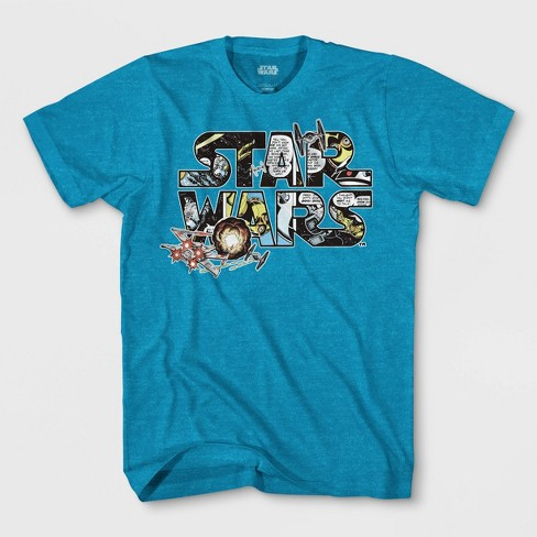 Boys' Star Wars Logo Comic Short Sleeve T-Shirt - Turquoise Heather - image 1 of 1