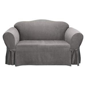 Soft Suede Loveseat Slipcover - Sure Fit, Gray
