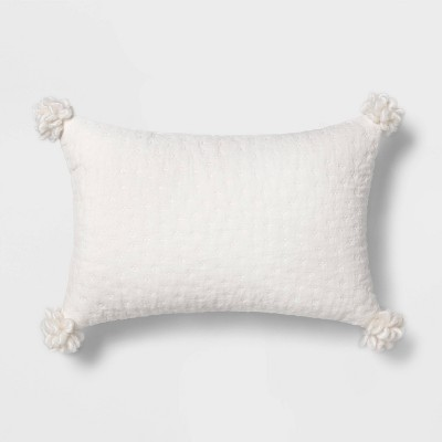 Quilted Velvet Lumbar Throw Pillow with Corner Poms White - Opalhouse™