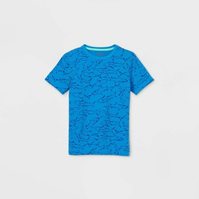Boys' Short Sleeve Shark Print T-Shirt - Cat & Jack™ Blue