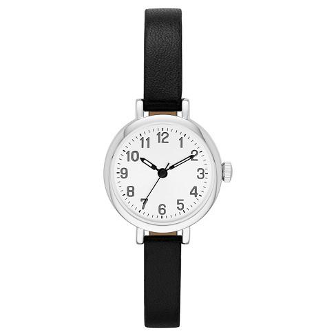bac5da5da392c Women s Fossil Value Skinny Strap Watch - Black Silver   Target