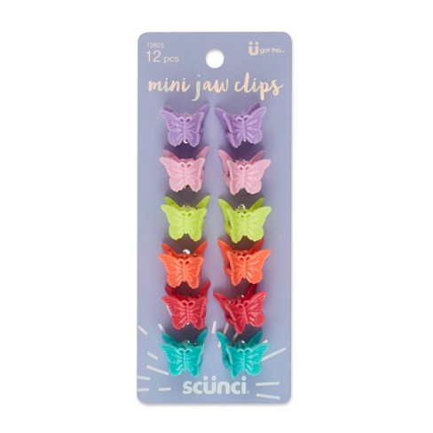 scunci Butterfly Bright Colors Mini Jaw Clips - 12ct - image 1 of 3