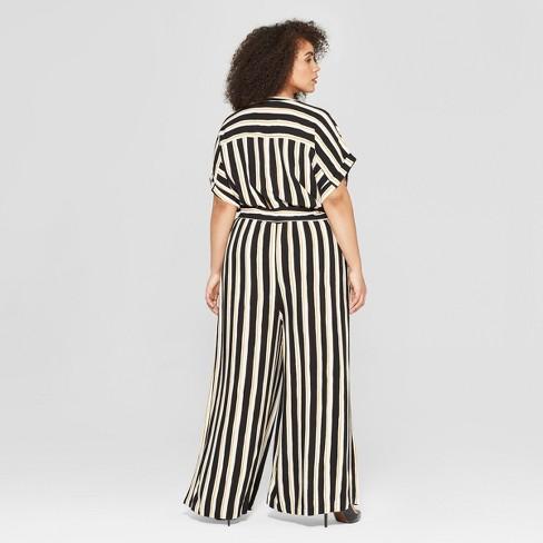 19e0b4f557df Women s Plus Size Striped Short Sleeve Belted Wide Leg Jumpsuit - Who What  Wear™ Black Yellow   Target