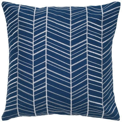 """18""""x18"""" Poly Filled Geometric Square Throw Pillow Blue - Rizzy Home"""