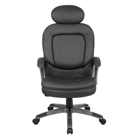 Executive Pillow Top Chair with Headrest Black - Boss Office Products - image 1 of 4