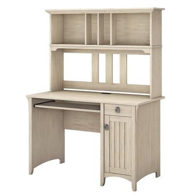 Salinas Mission Desk U0026 Hutch Antique White   Bush Furniture
