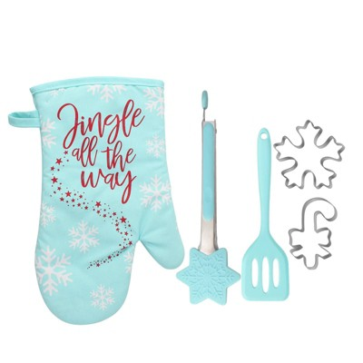 5pc Cotton Oven Mitt and Kitchen Utensil Set Blue - Cook With Color