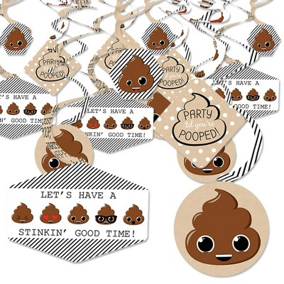 Big Dot of Happiness Party 'Til You're Pooped  - Poop Emoji Party Hanging Decor - Party Decoration Swirls - Set of 40