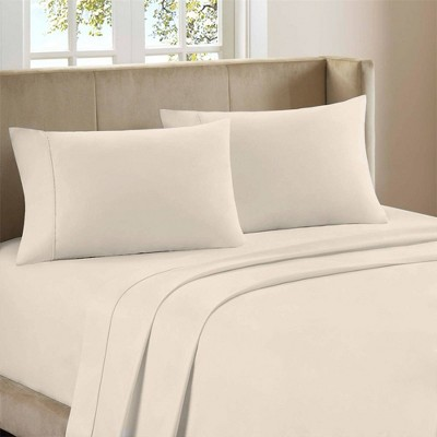 Queen 300 Thread Count Organic Cotton Brushed Percale Sheet Set Ivory - Purity Home
