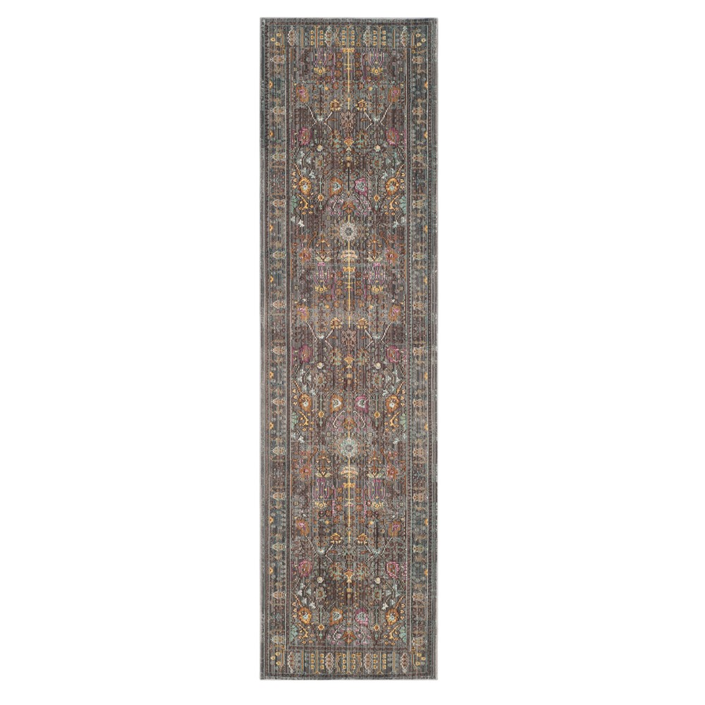 Floral Loomed Runner 2'3X10' - Safavieh, Gray/Multi-Colored